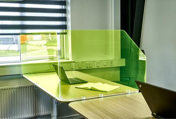 New Office Hygiejneskærme Neon plast Side og Front